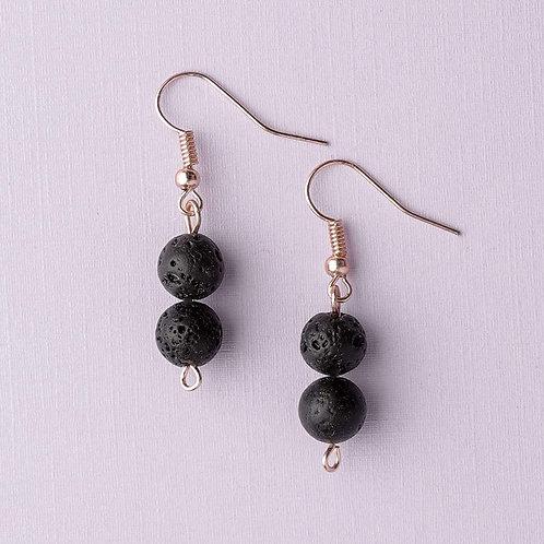 Double Lava Stone Earrings (Rose Gold)