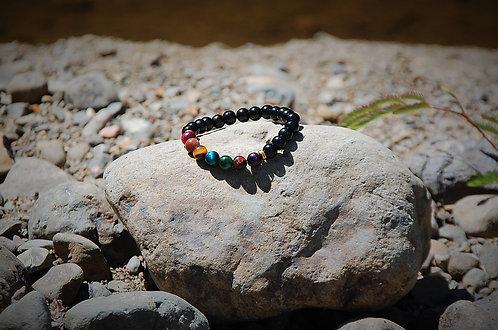 Chakra Stones Bracelet with black beads