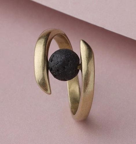 """Balance"" Copper & Lava Stone Ring (Size US 7)"