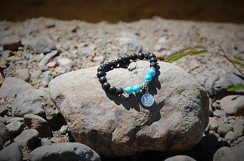 Turquoise & Tree of Life Lava Stone Bracelet