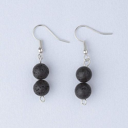 Double Lava Stone Earrings (Silver)