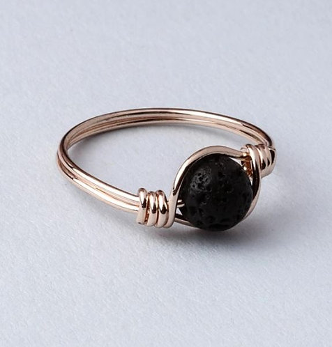 """Grateful"" Lava Stone Ring - ROSE GOLD (Size US 7)"