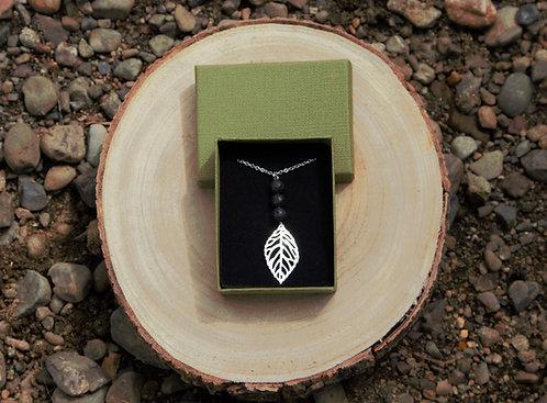 Leaf Lava Stone Necklace