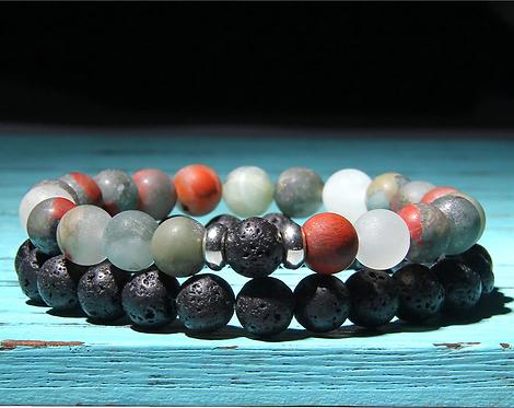 Men's Lava Stone & Ocean Jasper Bracelet Set
