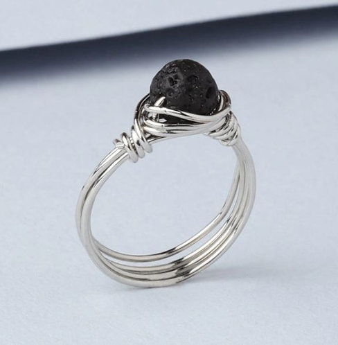 """Intention"" Lava Stone Ring - SILVER (Size US 7)"