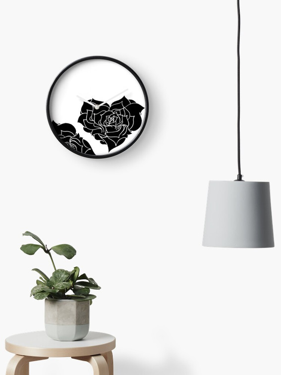 Horloge - Rose minimale noire