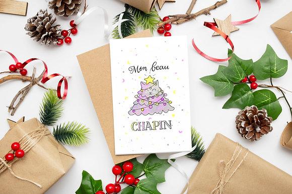 Lot de 4 cartes - Chats peints de Noël