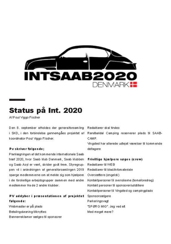 Status på Int. 2020
