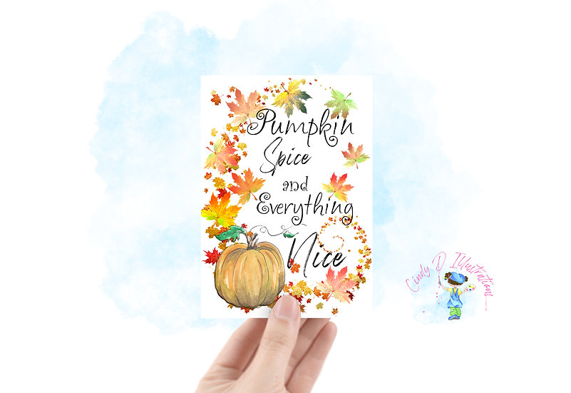 Harvest Pumpkin Spice in White ... Blank Greeting Card