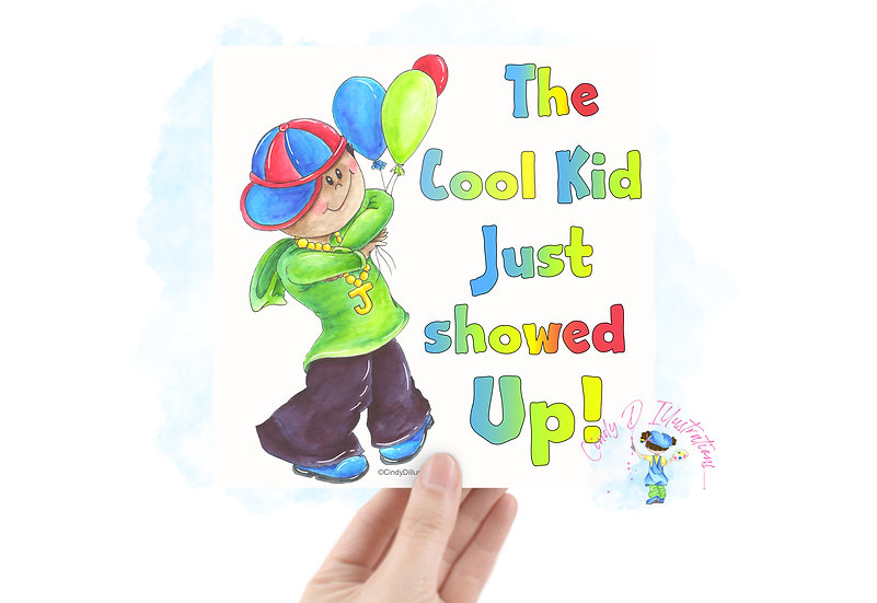 Cool Kid  -  Square Blank Greeting Card