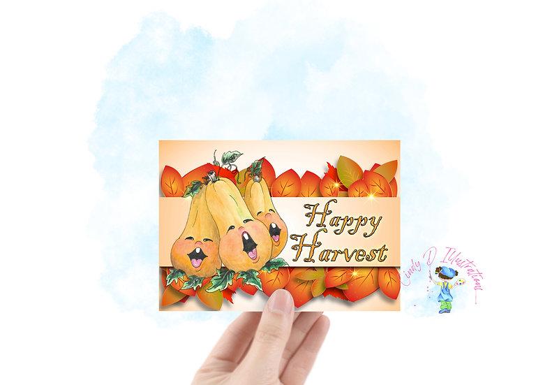 Harvest  Happy Singing Butternuts ... Blank Greeting Card