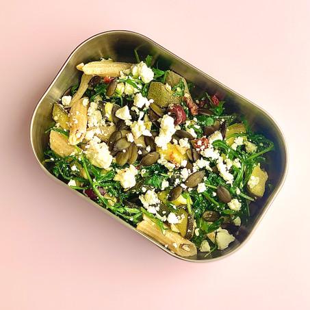 healthy lunch recipe: wild garlic, courgette & feta pasta