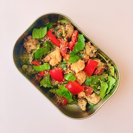 wfh lunch recipe: harissa quinoa with roasted cauliflower & sundried tomatoes
