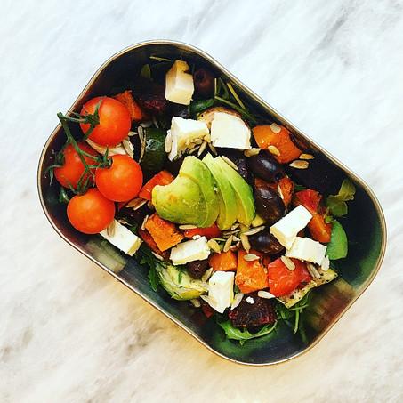 easy lunchbox recipe:  roasted vegetable, feta & olive salad