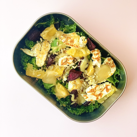 easy wfh lunch recipe: halloumi, orange & beetroot salad
