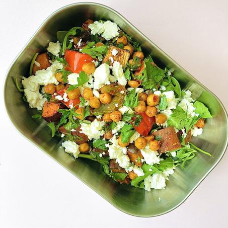 healthy lunch recipe: harissa chickpeas, feta & sweet potato salad