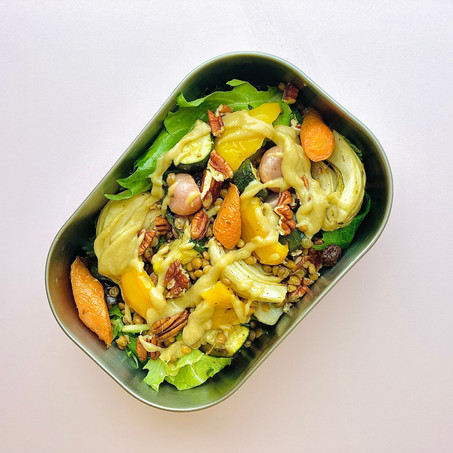 easy healthy lunch recipe: roasted fennel & carrot lentil salad with pecans and tahini dressing