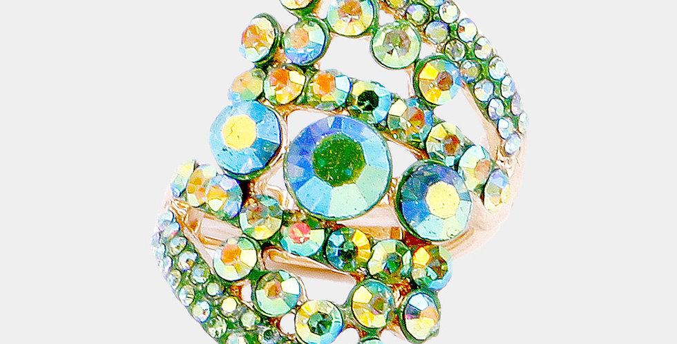 green multi color gem ring