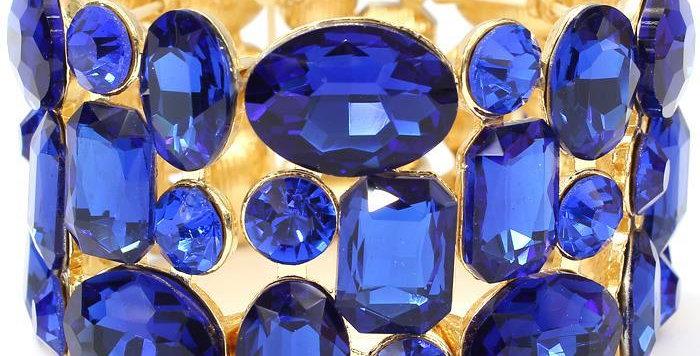 blue and gold gem bracelet