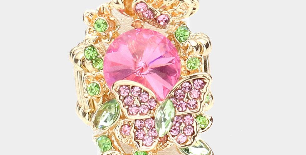 Pink butterfly gem ring