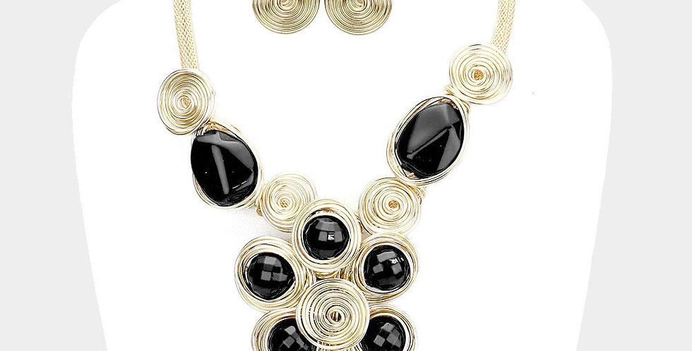 black and gold gem necklace set