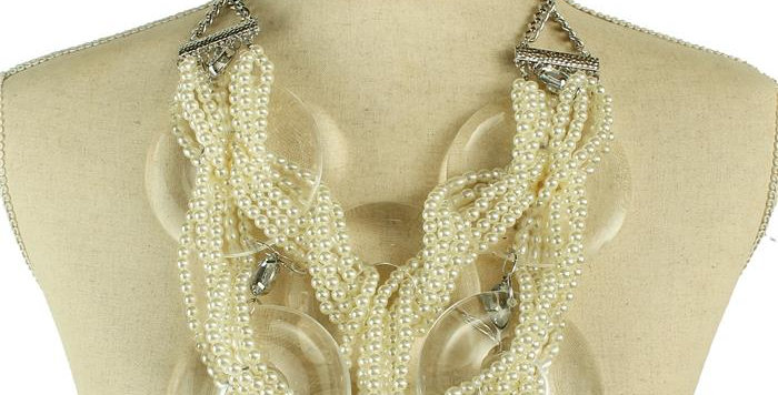 diamond and pearls loopy necklace set
