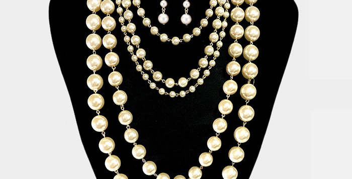 Two Piece Pearl Necklace Set