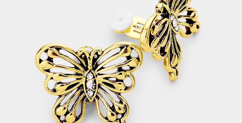 Antique butterfly clip on gold earrings