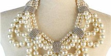 White Pearl Diamond Necklace