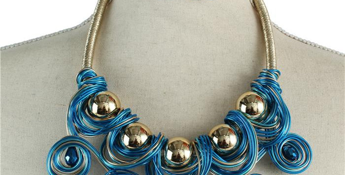 blue and gold wire necklace