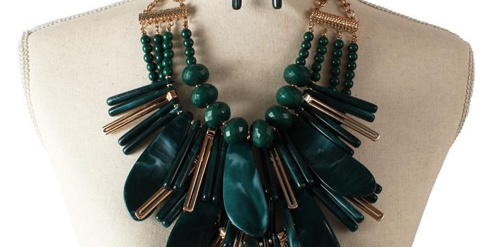 green wooden necklace