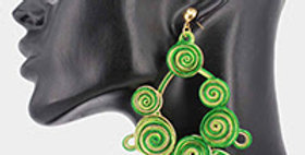 green wire earring with blue jewels
