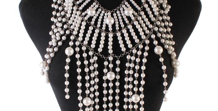 Pearl bib necklace set