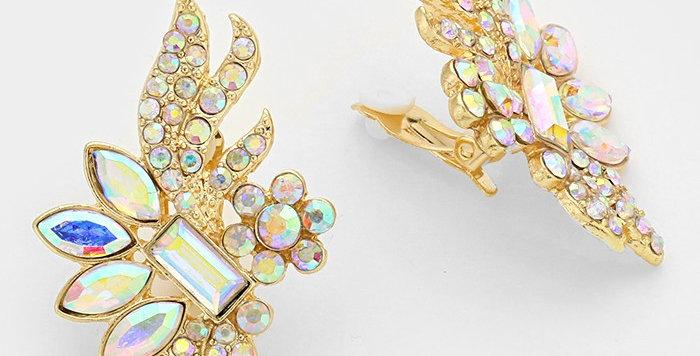 gold gem wing clip on earrings