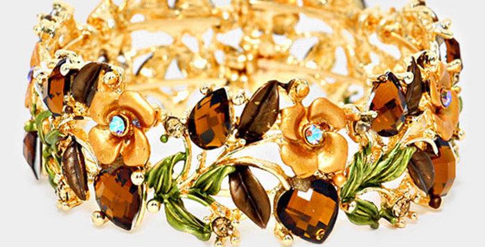 gold and brown gem bracelet