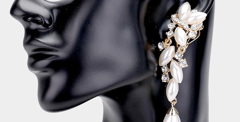 pearl diamond clip on earrings