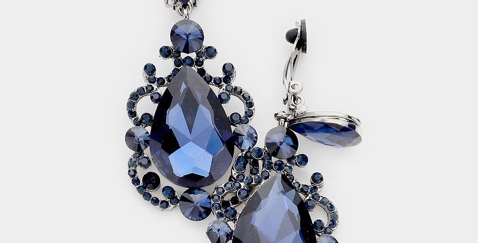 Blue clip on tear drops earring
