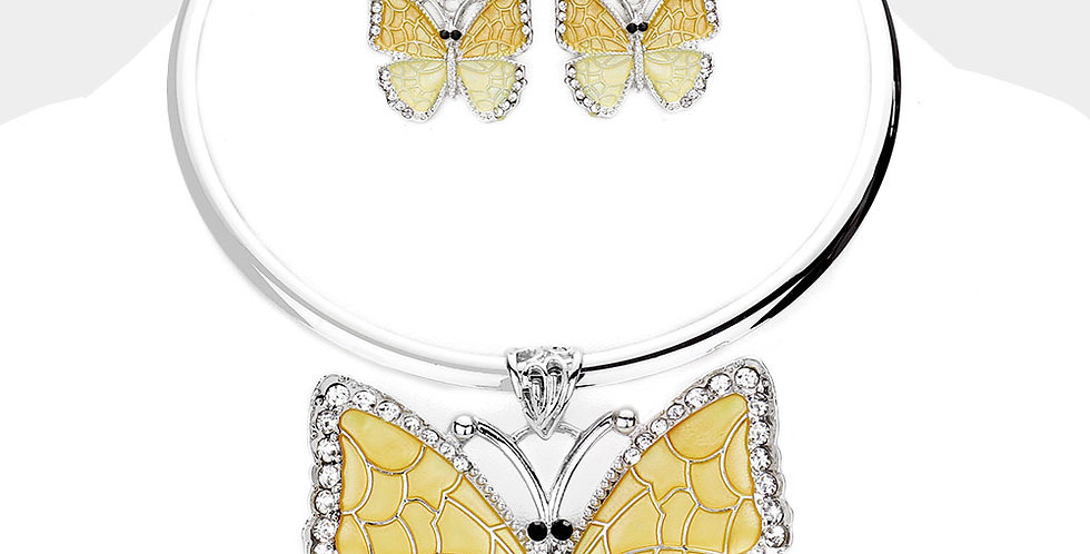 Yellow Butterfly Necklace set