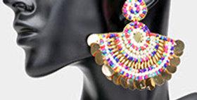 fan earrings pink and blue