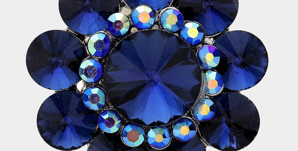 Blue flower gem ring