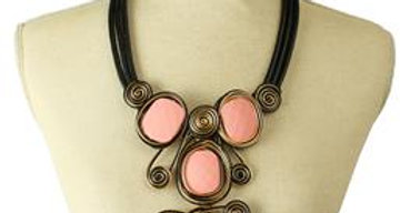 Pink and Black wire stone necklace set