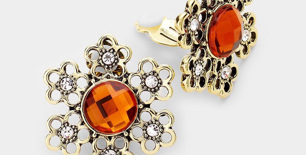 Antique leaf orange clip on earrings