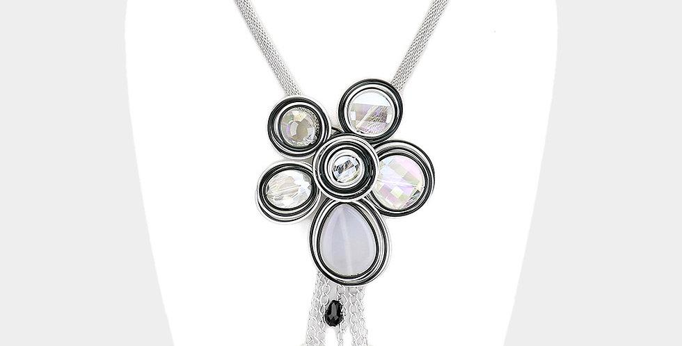 black and grey drop necklace
