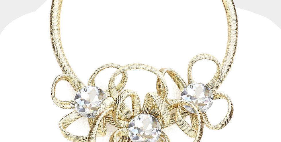 wire diamond gold necklace set