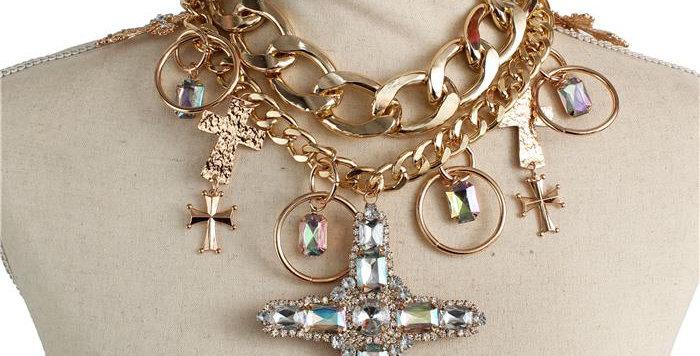 Gold diamond Cross Necklace Set