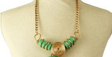Green stone wired necklace set