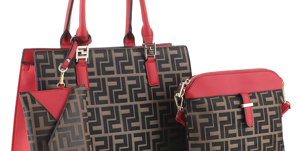 Red and brown Hand bag