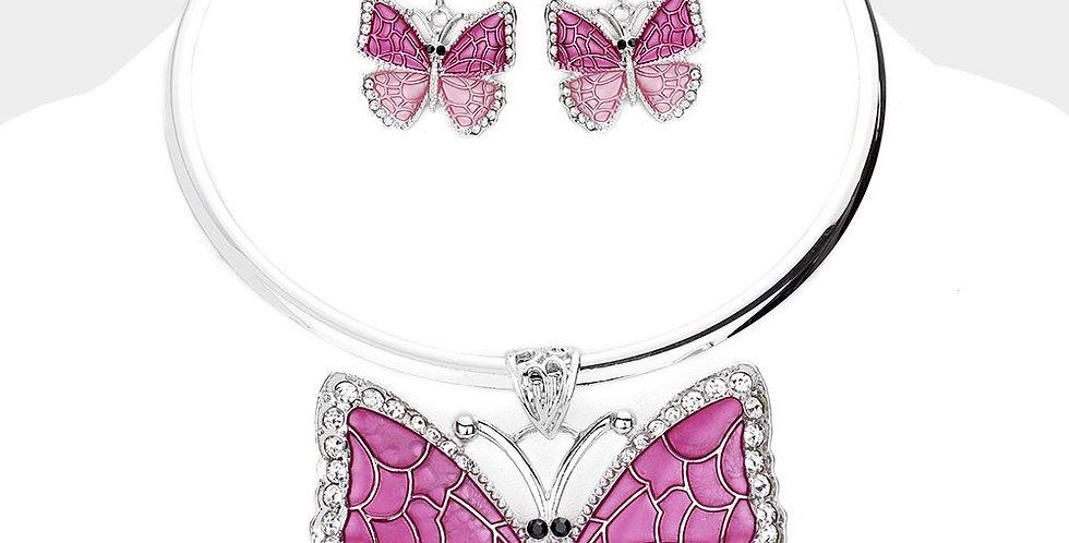 purple butterfly necklace set