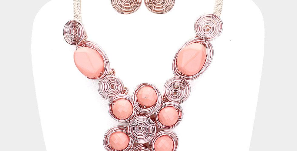 Pink wire gem set