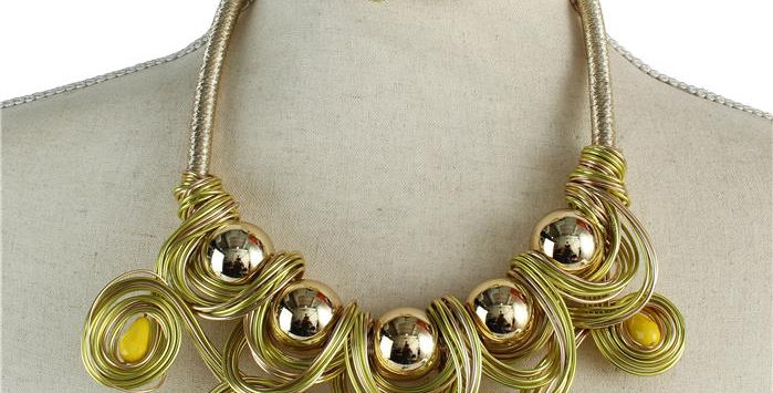 yellow and gold wire necklace